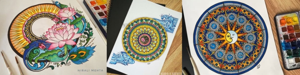 Mandala Art  in Ink and Watercolour