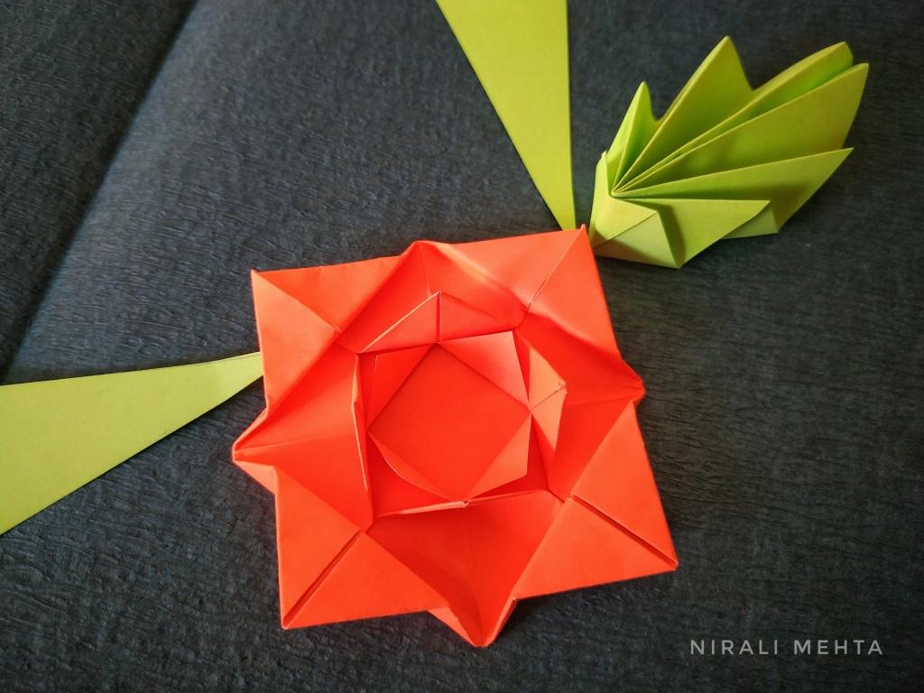 Origami Rose and Leaf