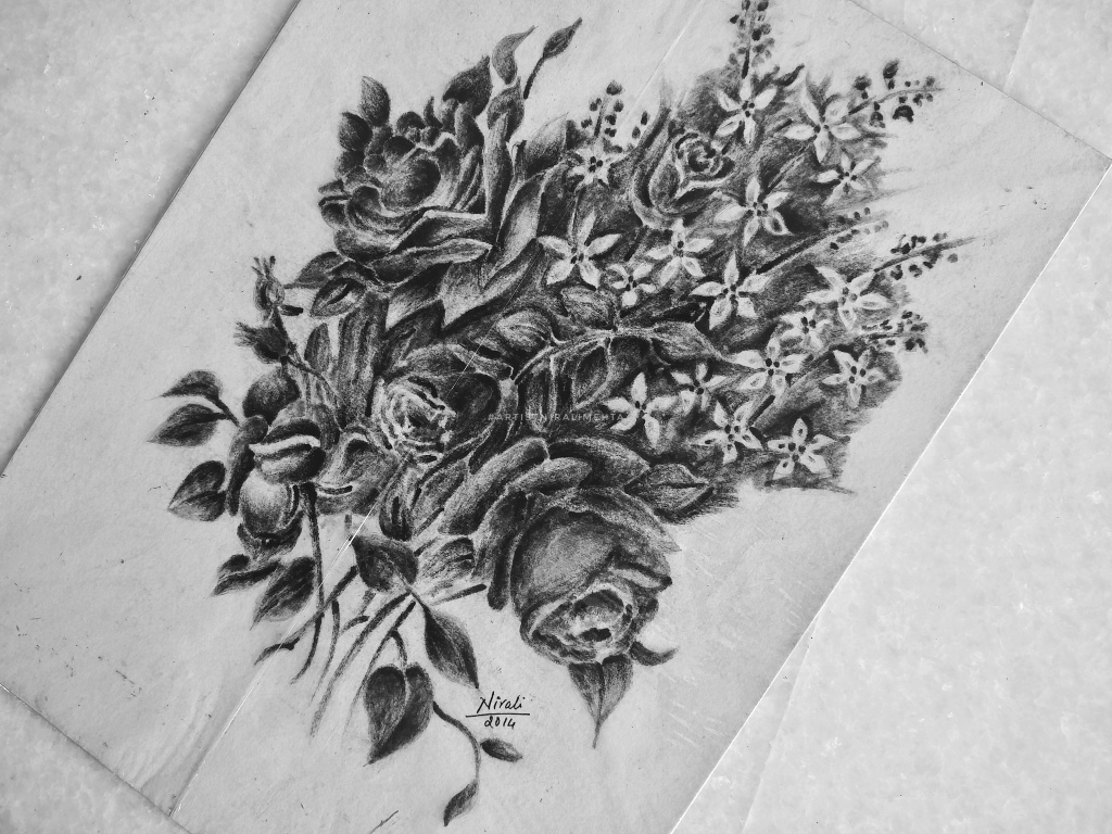 Charcoal Sketch Flowers