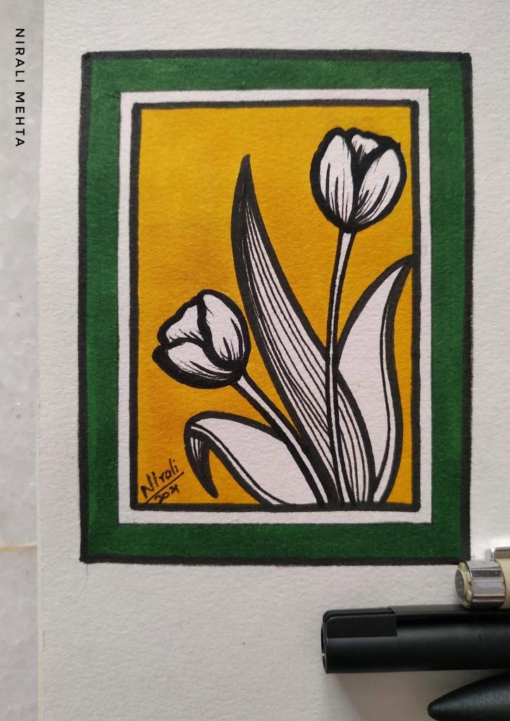 Yellow Gree Tulip Card